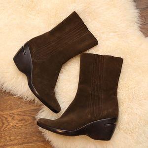 Cole Haan Nike Air Midi Boots Brown Suede Heel 8.5